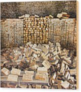 Left Over Brick In Antique Brick Kiln Wood Print