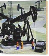 Lego Oil Pumpjacks Wood Print