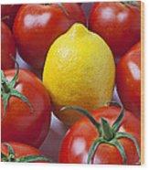 Lemon And Tomatoes Wood Print