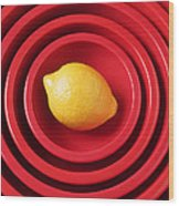 Lemon In Red Bowls Wood Print by Garry Gay