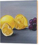 Lemons And Grapes Wood Print
