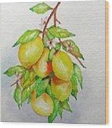 Lemons Wood Print by Elena Mahoney