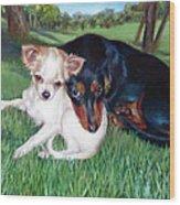 Lena And Peanut Wood Print