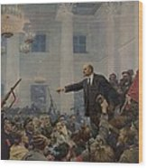 Lenin 1870-1924 Declaring Power Wood Print by Everett