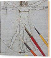 Leonardo Artwoork And Brushes Wood Print by Garry Gay