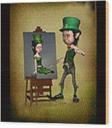 Leprechaun Painter Wood Print