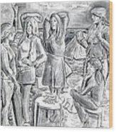 Les Demoiselles V1 Wood Print by Susan Cafarelli Burke