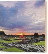 Lesnes Abbey Ruins Sunset Wood Print