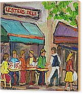 Lester's Deli Montreal Cafe Summer Scene Wood Print