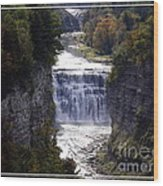 Letchworth State Park Middle Falls With Watercolor Effect Wood Print