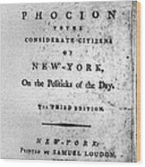 Letter From Phocion, 1784 Wood Print