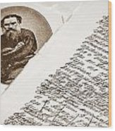 Lev Tolstoy And His Handwriting Notes Wood Print