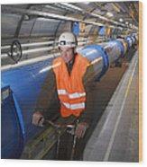 Lhc Tunnel, Cern Wood Print by David Parker