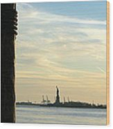 Liberty From Afar Wood Print