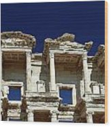 Library Of Celsus In Ephesus Wood Print by Sally Weigand