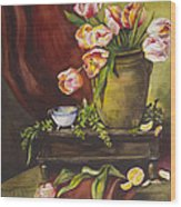 Library Table With Tulips Wood Print