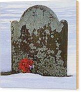 Lichen Tombstone Wood Print