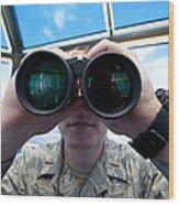 Lieutenant Uses Binoculars To Scan Wood Print by Stocktrek Images