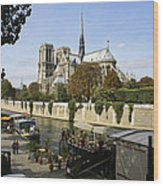 Life Along The River Seine Wood Print