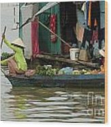 Life On Lake Yonle Sap 9 Wood Print