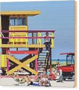 Lifeguard Hut Wood Print