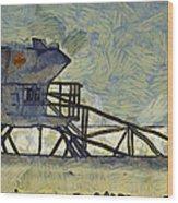 Lifeguard Station 17 Wood Print by Ernie Echols
