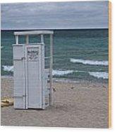 Lifeguard Station At The Beach Wood Print