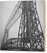 Lift Bridge Standing Strong In Fog Wood Print