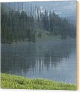 Lifting Fog On The Yellowstone Wood Print