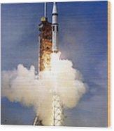 Liftoff Of The Saturn Ib Launch Vehicle Wood Print
