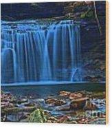 Light Blue Falls Wood Print