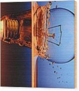 Light Bulb Shot Into Water Wood Print