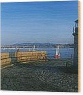 Light House At A Harbor, County Dublin Wood Print