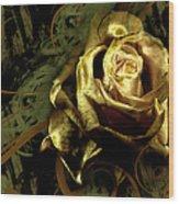 Light Painted Rose Wood Print