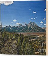 Light Rays On The Grand Tetons Wood Print