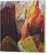 Light Through The Canyon Wood Print
