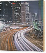 Light Trails On Road Wood Print by Andi Andreas