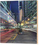 Light Trails On Street At Night Wood Print