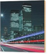 Light Trails On The Street In Tokyo Wood Print