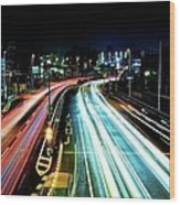Light Trails Wood Print by Photo by ball1515