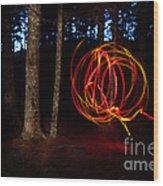 Light Writing In Woods Wood Print