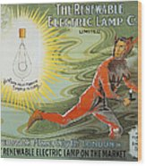 Lightbulb Ad, 1900 Wood Print