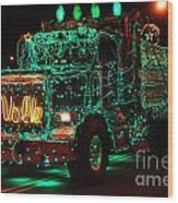 Lighted Green Dumptruck Wood Print