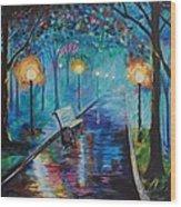 Lighted Park Path Wood Print