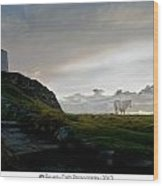 Lighthouse And Horse Wood Print