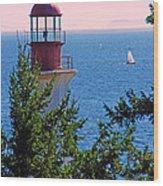 Lighthouse And Sailboats Wood Print
