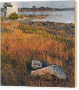 Lighthouse At Dawn Wood Print