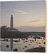 Lighthouse At Low Tide Wood Print