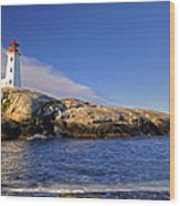 Lighthouse At Peggy's Cove Wood Print