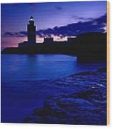 Lighthouse Beacon At Night Wood Print